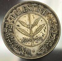 1934 PALESTINE 50 MILS COIN GREAT CONDITION KEY DATE HIGH VA
