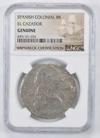SHIP WRECK   EL CAZADOR SPANISH COLONIAL   8 REAL SILVER COI