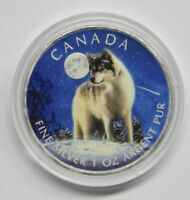 CANADA 2011 BU TIMBER WOLF 1 OZ SILVER CANADIAN $5 COIN  COLORIZED