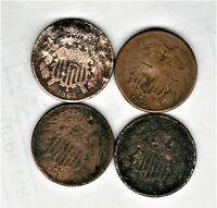 OBSOLETE 2 CENT COINS 1864-65-66-69 DAMAGE SHIPS FREE