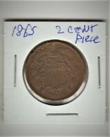 1865 UNITED STATES TWO CENT PIECE COIN 154 YEARS OLD