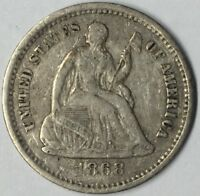 1868-S H10C SEATED LIBERTY HALF DIME EXTRA FINE  UNCERTIFIED