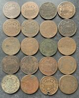 1864 - 1865 - 1867 - 1868 2 CENT PIECE LOT OF 20 COINS  US TYPE COIN LOT