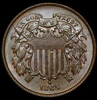1865 2C TWO-CENT PIECE FANCY 5 UNCIRCULATED GEM REPUNCHED DATE 2C020