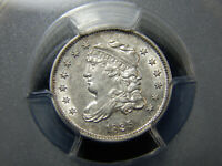 1835 H1C CAPPED BUST HALF DIME SMALL DATE LARGE 5C AU-55 PCGS,  & WHITE
