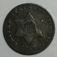 1852 THREE CENT SILVER F NOT CERTIFIED