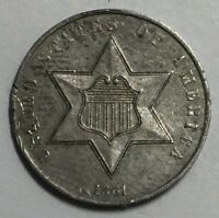 1861 THREE CENT SILVER AU NOT CERTIFIED