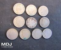 LOT OF 10 LIBERTY V NICKELS - 1887, 1892,1896,1897,1899,1905,1907,1909,1910,1912