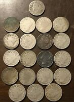 LIBERTY NICKELS PARTIAL STARTER SET 19 COINS 1883, 1891,2,3, 1888, 1912D OTHERS