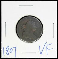1807 HALF CENT > DRAPED BUST COIN>>VF