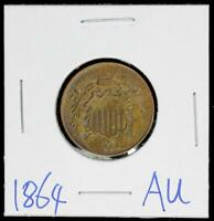 1864 2C US >> TWO CENTS COIN>>AU
