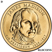 2007 D PRESIDENT JAMES MADISON UNCIRCULATED PRESIDENTIAL DOLLAR  4D