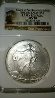 2012-S SILVER EAGLE EARLY RELEASE  NGC MS-70 SAN FRANCISCO TROLLEY CARLIMITED