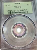 1879 PR64RB PCGS OGH TONED PROOF INDIAN HEAD CENT DOUBLE SIDED TONING