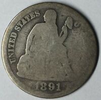 1891-O 10C SEATED LIBERTY DIME G UNCERTIFIED
