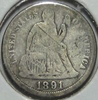 1891-0 SEATED LIBERTY SILVER DIME,  GOOD  SHIPS FREE