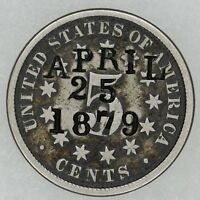 1872 SHIELD NICKEL 5C COUNTERSTAMPED COUNTERMARKED APRIL 25TH 18798652