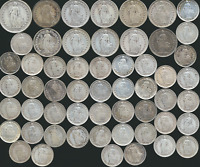 55 OLD SILVER COINS FROM SWITZERLAND 1875 1929