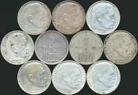 10 OLD SILVER TWO 2 REICHSMARK COINS FROM THE THIRD REICH GE