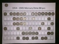 1914   1945 MERCURY DIME 88 PC LOT
