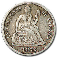 1872 SEATED LIBERTY DIME VF - SKU32577