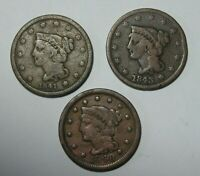 LOT OF 3 LARGE CENTS 1841 1843 1848