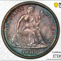 1888 10C SEATED LIBERTY DIME UNC PCGS SHIELD TONED