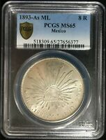 1893 AS ML MEXICO 8 RELAES PCGS MS65   EXCEPTIONAL COIN RARE