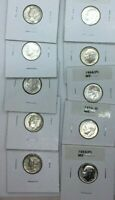$1.00 FACE VALUE SILVER DIMES IN 2X2'S.