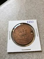 1850 BANK OF UPPER CANADA ONE CENT HOLED