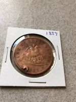 1856 BANK OF UPPER CANADA LARGE ONE PENNY  HOLED