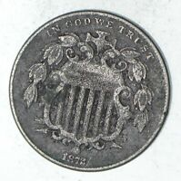 1872 SHIELD NICKEL - WITHOUT RAYS - CIRCULATED 9327