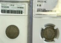 LOT OF 2 1912 S LIBERTY NICKELS ANACS F12 AND NGC F15