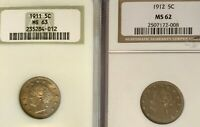 LOT OF 2 BU LIBERTY NICKELS NGC MINT STATE 62 & MINT STATE 63