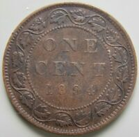1894 CANADA CANADIAN LARGE 1 CENT COIN   QUEEN VICTORIA