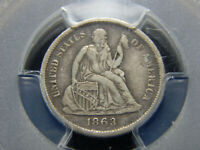 1863-S 10C SEATED LIBERTY DIME VF-30 PCGS, TOUGH DATE
