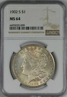 1902 S  MORGAN SILVER DOLLAR NGC MINT STATE 64 - LIGHT GOLD TONING - A BETTER DATE IN 64