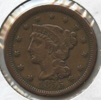 1855 BRAIDED HAIR LARGE CENT PENNY - UPRIGHT 5'S BC718