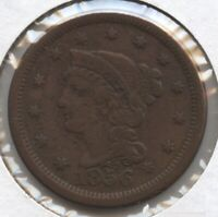 1856 BRAIDED HAIR LARGE CENT PENNY - UPRIGHT 5 BC721
