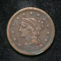 1847 BRAIDED HAIR LARGE CENT COIN HAS CORROSION BB2764