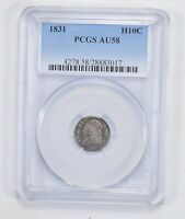 AU58 1831 CAPPED BUST HALF DIME - PCGS GRADED 2053