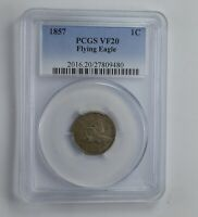 VF20 1857 FLYING EAGLE CENT - GRADED PCGS 1568