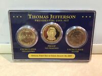 THOMAS JEFFERSON 2007 PRESIDENTIAL 3-COIN SET-1 PROOF SF, 2 UNCIRC PHILLY&DENVER