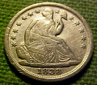 1838 SEATED LIBERTY HALF DIME 1/2 10C  STARS OBVERSE W/ SOLID DETAILS 02YM