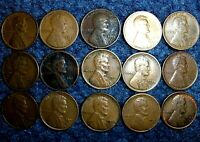 LOT OF 15 DIFFERENT BETTER DATE & GRADE LINCOLN WHEAT CENT COINS WITH 1924 D