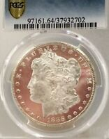 1885-CC MORGAN PCGS MINT STATE 64 DMPL CAC APPROVED SNOW WHITE DEEP MIRROR PROOF LIKE