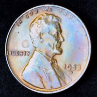 1953-D LINCOLN WHEAT CENT UNCIRCULATED MULTI-TONED COIN