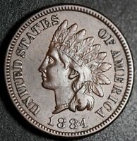 1884 INDIAN HEAD CENT - WITH LIBERTY & DIAMONDS - EXTRA FINE  EF