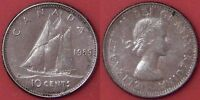 ALMOST UNCIRCULATED 1959 CANADA SILVER 10 CENTS TONED