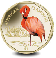 2019 BRITISH VIRGIN ISLANDS AMERICAN FLAMINGO COLOURED VIRENIUM COIN IN POUCH